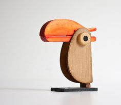 Vintage Modern Wood Toucan Desk Organizer (25.00 USD) by kibster