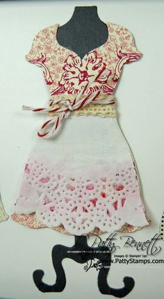 Print Poetry DSP stack dress with apron using Stampin Up Dress Up Framelits