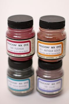 Procion MX Dye used to customize colours with varying amounts of each pigment