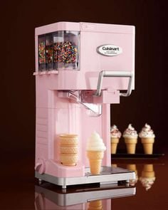 For The Little One: Soft Serve Ice Cream Maker by Cuisinart at Neiman Marcus. I love this ice cream machine!Cutest soft serve ice cream maker by Cuisinart! Has places for easy-dispense sprinkles and a spot to hold your ice cream cones! How delicious! Cool Kitchen Gadgets, Small Kitchen Appliances, Cool Kitchens, Cream Kitchens, Diner Kitchen, House Appliances, Retro Appliances, Kitchen Small, Kitchen Reno