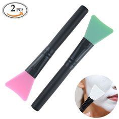 Travelmall 2 piece Mask Applicator Brush Hairless Silicone Super Soft Facial Mask Mud Brush Body Lotion And Body Butter Applicator Tools Brush Random Color * To view further, visit now : SkinCare mask