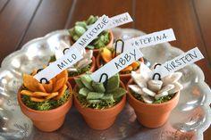 Mini felt succulent card holders