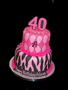 Pink and Black Birthday Cake - Zebra and Diamond Pattern 40th Birthday Cakes, 40th Birthday Parties, Birthday Ideas, Sweets Cake, Cupcake Cakes, Take The Cake, Chocolate Cupcakes, Pretty Cakes, Diamond Pattern
