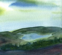 Hillside Lake By Frank Bright  - Watercolor Painting