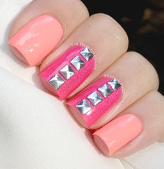 Orange and Pink Neon Nails