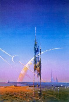 Bruce Pennington, The Year's Best Science Fiction, Sphere Books Re-used for the Dutch version of Now Wait for Last Year by Philip K. Architecture Design, City Sketch, Spaceship Design, Science Fiction Art, Retro Aesthetic, Future City, Fantasy Landscape, Space Travel, Illustrations