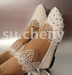White light ivory lace pearls crstal flat ballet W Ballet Wedding Shoes, Converse Wedding Shoes, Wedge Wedding Shoes, Designer Wedding Shoes, Wedding Boots, Bride Shoes, Wedding White, Floral Wedding, Lace Wedding