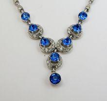 Sapphire Blue Rhinestone Bogoff  Drop Necklace