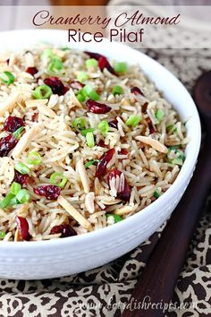 Cranberry Almond Rice Pilaf: Savory rice pilaf with cranberries, toasted almonds and green onions. Perfect as a holiday side dish! Easy Rice Pilaf, Wild Rice Pilaf, Rice Pilaf Recipe, Rice Side Dishes, Side Dishes Easy, Food Dishes, Side Recipes, Healthy Dinner Recipes, Cooking Recipes
