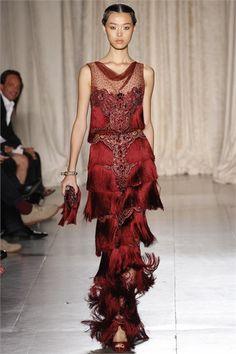 Marchesa New York - Collezioni Primavera Estate 2013 - Vogue  Red sheer fringing