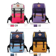 Cool PU Trim Preppy Canvas Casual Backpack for Women Free Shipping