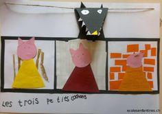 Les trois petits cochons - classroom project. 3 Little Pigs in French - en français Kindergarten Library, Kid Friendly Art, Farm Unit, Traditional Tales, Album Jeunesse, Three Little Pigs, Christian Christmas, Stories For Kids, Teaching Art