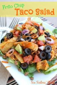 Six Sisters Frito Chip Taco Salad is so quick and easy.  The dressing is what takes this salad over the top!  It is so delicious!
