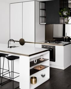 Admiring this kitchen space...Image via @thedesignchaser .. #urbancouturedesigns #monochromeliving #kitchendesign