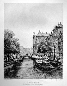 Amsterdam - Nieuwe Zijds Voorburgwal | Herkomst   : La Hollande by H.Havard Grafic          : Heliogravure Year             : 1881 Edit              :  Decaux et Quantin Meassure    :  14 x 19 cm