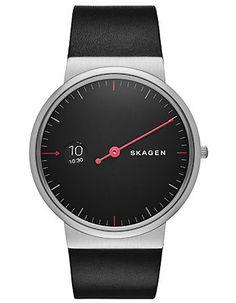 Skagen Mens Ancher Watch - Black Dial - Steel - Black Leather Strap - Red Hand