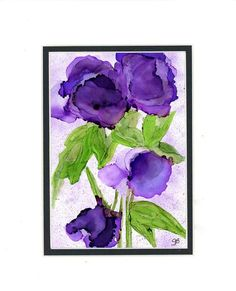Purple Blossoms alcohol ink painting on yupo por twocooltexans
