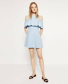 Image 1 of SKATER DRESS WITH CUT-OUT SHOULDERS from Zara