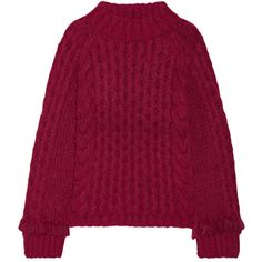ELEVEN SIX Lorena fringed cable-knit alpaca-blend sweater (11.340 ARS) ❤ liked on Polyvore featuring tops, sweaters, burgundy, fringe sweater, cable-knit sweater, purple cable knit sweater, fringe top and cable sweater
