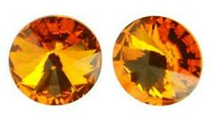 Jubiexpress_us-RIVOLI 8 GENUINE SWAROVSKI CRYSTAL STUD EARRINGS SILVER + GOLD PLATE 24 K ~color-Tangerine-$6.50