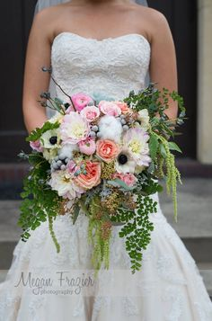 Blush bridal bouquet, garden roses, runuculous, dahlias, anomonies, ameranthus, cotton, brunia berries, eucalypts pods. Southern charm, woodland, rustic.