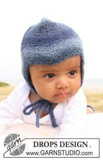 Baby Blue Hat / DROPS Baby - Knitted hat in garter st for baby and children in DROPS Delight Baby Knitting Patterns, Baby Hats Knitting, Knitting For Kids, Baby Patterns, Free Knitting, Crochet Patterns, Drops Design, Drops Baby, Magazine Drops