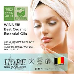 Visit House of Pure Essence (HoPE) at LOHAS Expo 2018! 1-3 Feb 2018 HKCEC Wanchai Halls 5F&G Booth D17  For trade on 1-2 Feb (Thursday and Friday) 10:00 am to 6:00 pm  Open to the public on 3 Feb 2018 (Saturday) 11:00 am to 8:00 pm. You will see our entire range of 100% organic essential oils 100% organic beauty oils Gelair and accessories! We also have a surprise gift for purchase so do visit us! See you there!  #houseofpureessence #lohasexpo2018 #hongkong #organic #natural #essentialoils…