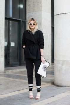 Black coat, jogging pants and heels in black and white - Camille Over the Rainbow