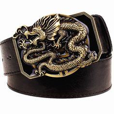 Fashion men's belt flying dragon belt metal buckle belts golden dragon totem heavy metal style belt punk rock performance girdle
