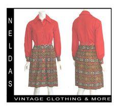 1960s Mod Vintage Dress Belt Eastern Print