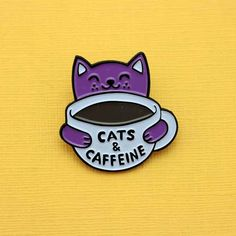 Cats & Caffeine Enamel Pin by Punky Pins Cute Patches, Pin And Patches, 1950s Inspired Fashion, Raining Cats And Dogs, Cat Pin, Metal Pins, Pin Badges, Lapel Pins, Cute Art