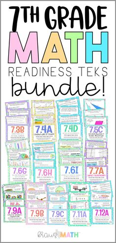 Grade 7 Math STAAR Test Prep Task Cards: READINESS TEKS BUNDLE!THIS INCLUDES: 260 STAAR test-prep task cards (20 task cards for each of the 7th grade readiness standards!). Answer keys for each deck of cards. Student recording sheets for each deck of cards. #7thgrademath #7thgradereadiness #taskcards #middleschoolmath #middleschool Seventh Grade Math, First Grade Math, 7th Grade Math Worksheets, Math Notes, Math Anchor Charts, Math Task Cards, Math Resources, Math Activities, Math Classroom