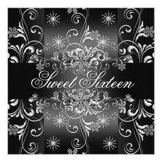 Sweet 16 Black & White Snowflake Birthday Invite