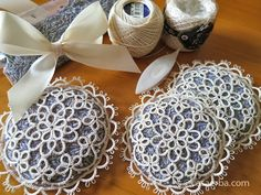 CasaERBA: Tatting Lace and Hiking Northern Alps Japan M't Kashimayarigatake Lavender Crafts, Lavender Bags, Lavender Sachets, Tatting Necklace, Tatting Jewelry, Lace Jewelry, Needle Tatting, Tatting Lace, Crochet Pincushion