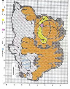 GARFIELD SLEEPING ON A PILLOW by CREATIVECANVASCRAFTS.COM -- WALL HANGING