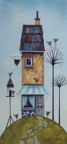 Gary Walton watercolour 'Birdhouse Cottage'