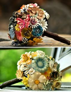 Brooch Bouquets - This could go either way.  Totally tacky or very cute. I like the idea though !