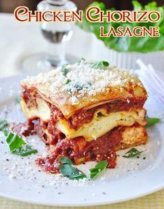 Chicken Chorizo Lasagna - spicy chorizo sausage adds a big flavor boost to this delicious twist on a comfort food classic.