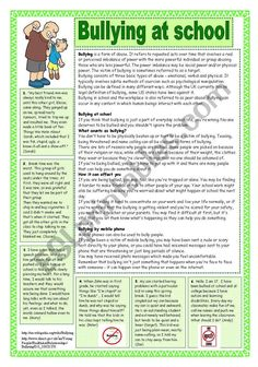 Bullying at school. Reading comprehension - ESL worksheet by coyote. Essay Writing Skills, Paragraph Writing, Persuasive Writing, English Vocabulary Words, Learn English Words, Reading Is Thinking, Reading Comprehension Activities, General Knowledge Facts, English Reading