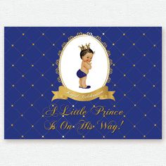 gold royal blue white baby prince, crown, baptism, christening, birthday, baby shower backdrop, sign poster, banner, party, decor, king by PRINTABLEPARTYPAPER on Etsy