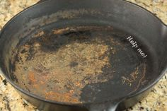 how to repair a cast iron pan (so I can fix up the little one found at the goodwill