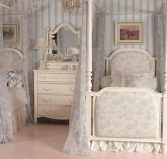 Isabella Canopy Bedding in Blue, this would be cute for twins!