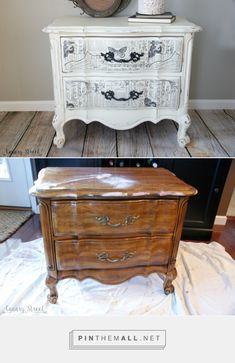 Black And White French Nightstand - Canary Street Crafts - created on Decoupage Furniture, Diy Furniture Projects, Chalk Paint Furniture, Hand Painted Furniture, Distressed Furniture, Refurbished Furniture, Repurposed Furniture, Furniture Making, Furniture Makeover