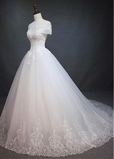 Marvelous Tulle Off-the-shoulder Neckline Ball Gown Wedding Dress With Beaded Lace Appliques - Adasbridal.com