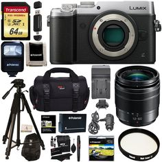 Panasonic LUMIX GX8 Mirrorless Micro Four Thirds Camera (Silver), G Vario 12-60mm f/3.5-5.6 ASPH. POWER O.I.S. Lens, Transcend 64 GB Card, Polaroid Tripod, Polaroid Battery, Charger + Accessory Bundle. Capture moments with superb 4K imaging performance in both video and exclusive 4K PHOTO. Unique, in-body stabilization in combination with select optically stabilized lenses work together for class-leading Dual Image Stabilization results. Worry-free splash proof / dustproof rugged body…