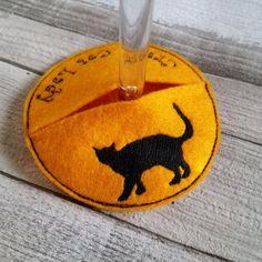 Crazy Cat Lady Wine Glass Coaster - Wine glass decoration, accessory, drink coaster, wine glass charm by MadeByMAP on Etsy