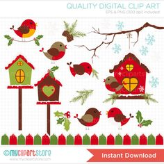Red Robin / Cardinal Christmas Clip Art / by MyClipArtStore, $4.00