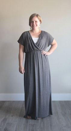 Cute DIY criss cross maxi dress sewing tutorial. Post shows how to make it using a free t-shirt pattern. I love that it has sleeves - this is my perfect summer dress!