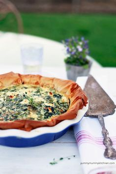 Simple recipe for spinach quiche with filo crust. This is so much healthier than regular quiche with butter crusts and heavy cream.