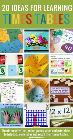 20 Ideas For Learning Times Tables - hands on activities, online games, apps and printables to help kids remember and recall their times tables. Teaching Multiplication, Teaching Math, Teaching Time, Math For Kids, Fun Math, Hands On Activities, Math Activities, Games Memes, Homeschool Math